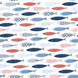 Sömlös dekorativ modell med fisken på vit bakgrund Fotografering för Bildbyråer