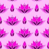 Sömlös design för mosaikmodell med en lotusblommaknopp Arkivfoto
