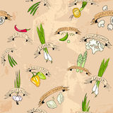 Sömlös design med grönsaker Arkivbild