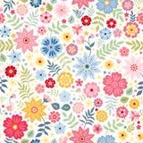 Sömlös ditsy blom- modell med gulliga små blommor på vit bakgrund också vektor för coreldrawillustration royaltyfri illustrationer