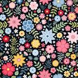 Sömlös ditsy blom- modell med små blommor och sidor för fantasi i folk stil också vektor för coreldrawillustration royaltyfri illustrationer