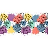 Sömlös dragen blom- modell för vektor hand, färgrik ram för ändlös gräns med blommor, sidor Dekorativ gullig grafisk linje drawin Royaltyfria Bilder