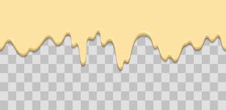 Sömlös droppande Genomblöt glasyr, kräm, glass, vit choklad, vanilj Droppar som ner flödar Tecknad filmillustration för stock illustrationer