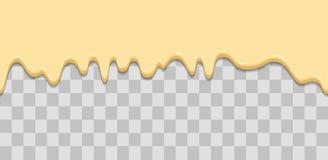 Sömlös droppande Genomblöt glasyr, kräm, glass, vit choklad, vanilj Droppar som ner flödar Tecknad filmillustration för vektor illustrationer