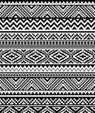 Sömlös etnisk modell i monokrom, svartvita färger Arkivbild