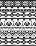 Sömlös etnisk modell i monokrom, svartvita färger Royaltyfria Foton