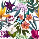Sömlös exotisk blom- modemodell stock illustrationer