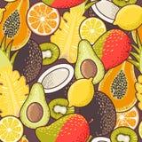 Sömlös exotisk frukt vektor illustrationer