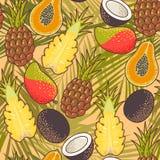 Sömlös exotisk frukt royaltyfri illustrationer