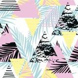 Sömlös exotisk modell med palmblad på geometrisk bakgrund Arkivbild