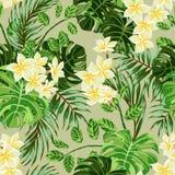 Sömlös exotisk modell med tropiska sidor och blommor royaltyfri illustrationer