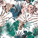 Sömlös exotisk modell med tropiska växter Arkivbilder