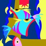 Sömlös färgfisk som simmar i vattnet vektor illustrationer
