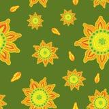 Sömlös färgmodell med hand-drog abstrakta blommor stock illustrationer