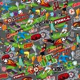 Sömlös färgmodell på ett fotbolltema på en grå bakgrund Fotbollattribut, fotbollsspelare av olika lag, bollar, vektor illustrationer