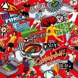 Sömlös färgmodell på ett fotbolltema på en röd bakgrund Fotbollattribut, fotbollsspelare av olika lag, bollar, s stock illustrationer
