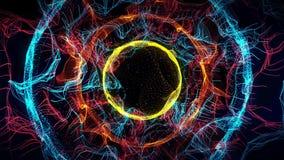 Sömlös färgrik abstrakt animeringhålbana i modell för textur för bakgrund för partikelljusbeståndsdel stock illustrationer