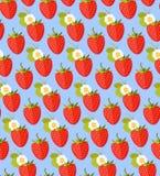 Sömlös färgrik bakgrund som göras av jordgubben i plan design Arkivfoton