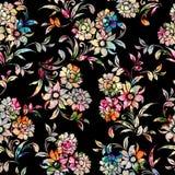 Sömlös färgrik blom- modell med svart bakgrund stock illustrationer