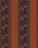 Sömlös färgrik blomma med den paisley gränsen royaltyfri illustrationer