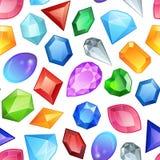 Sömlös färgrik gemstonesmodell Diamant- och ädelstenbeståndsdelar Abstrakt sömlös bakgrund med att glöda färgrikt stock illustrationer