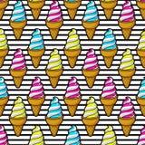 Sömlös färgrik glass stock illustrationer