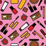 Sömlös färgrik modell för vektor av en makeup för kvinna` s vektor illustrationer