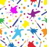 Sömlös färgrik modell med borstar och målarfärgfärgstänk kreativitetbakgrund, vektorillustration vektor illustrationer