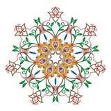 Sömlös färgrik modell med mandalaen Dekorativ beståndsdel för tappning vektor illustrationer
