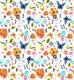 Sömlös färgrik modell med nummer och blommor, trevlig vektorillustration Arkivbild
