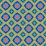 Sömlös färgrik orientalisk abstrakt mattmodell med cirkulär- och stjärnaformer Vektor Illustrationer