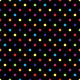 Sömlös färgrik prickmodell på svart också vektor för coreldrawillustration stock illustrationer