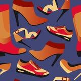 Sömlös färgrik retro bakgrund med skor i plan enkel design Royaltyfri Bild