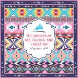 Sömlös färgrik stam- modell för Navajo med citationstecken på etiketter Fotografering för Bildbyråer
