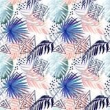 Sömlös färgrik tropisk modell Sidor av en gömma i handflatan, monstera på en vit bakgrund arkivbild