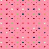 Sömlös förälskelsehjärta på rosa bakgrund Royaltyfri Fotografi