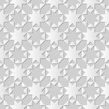 Sömlös för snittkonst för vitbok 3D geometri för triangel för kors för stjärna för octagonn för bakgrund 395 Royaltyfri Fotografi