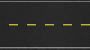 Sömlös för vägtextur för två gränd bild med den gula remsan Royaltyfri Bild