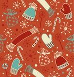 Sömlös feriejulmodell Klottret snör åt bakgrunden med lock, halsdukar, tumvanten och klubbor, sugarplums Ändlös hantverktextu stock illustrationer