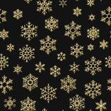 Sömlös ferietextur, julmodell med guld- snöflingagarnering för textiler, broschyr, kort 10 eps royaltyfri illustrationer