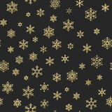 Sömlös ferietextur, julmodell med guld- snöflingagarnering för textiler, broschyr, kort 10 eps stock illustrationer