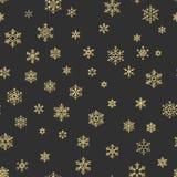 Sömlös ferietextur, julmodell med guld- snöflingagarnering för textiler, broschyr, kort 10 eps vektor illustrationer