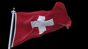 sömlös flagga för schweizare som 4k vinkar i vind Inklusive alfabetisk kanal royaltyfri illustrationer