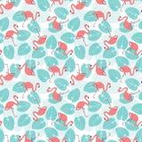 Sömlös flamingomodell stock illustrationer
