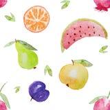 Sömlös fruktmodell för vattenfärg Fotografering för Bildbyråer