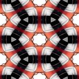 Sömlös futuristisk abstrakt begreppsvart, röd och för silverkrom metallisk geometrisk textur eller bakgrund Stock Illustrationer
