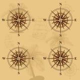 Sömlös gammal översikt med en kompass och skepp Royaltyfria Foton