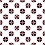 Sömlös geometrisk blom- svart för konst för design för abstrakt begrepp för bakgrund för vektor för blommamodell och rött Royaltyfri Fotografi