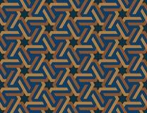 Sömlös geometrisk islamisk prydnad med sexhörniga stjärnor Royaltyfria Bilder