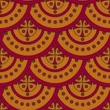 Sömlös geometrisk modell av guling-röda cirklar som läggas över på de som våg royaltyfri illustrationer
